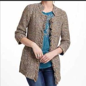 Anthropologie Sparrow open front fringe cardigan L